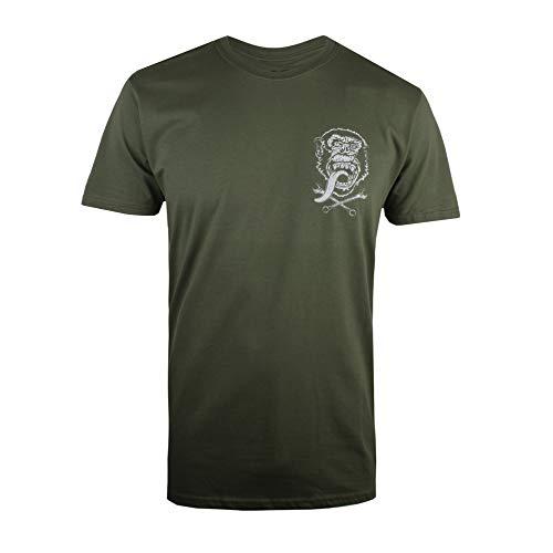 Gas Monkey GMG Emblem Camiseta, Verde (Military Green Military), XL para Hombre