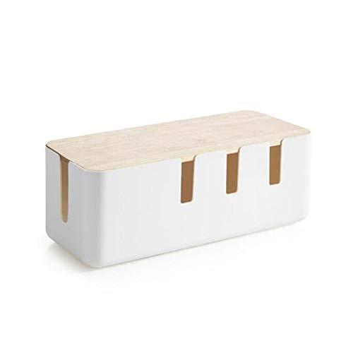 XinLuMing Caja de Cable Caja de administración de Cable Grande Hecha de plástico ABS y Madera, administrar Cables y organizar para una máxima Seguridad, Blanco (Color : White)