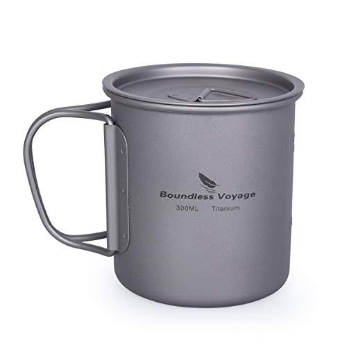 iBasingo Titan Tasse Camping Becher mit Deckel Klappgriff Outdoor Ultraleichter Tee Kaffee Wasserbecher Picknick Kochgeschirr 300ml Ti15141BI