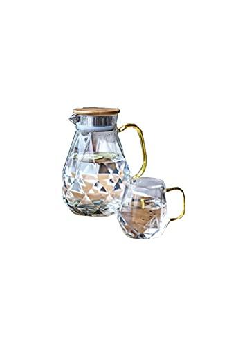 BERTY·PUYI Botella de Agua fría de Vidrio pote de Diamantes de Alto Valor Botella de Agua fría Espesada Juego de Botellas de Agua Simple para el hogar Adecuado para la Oficina en casa
