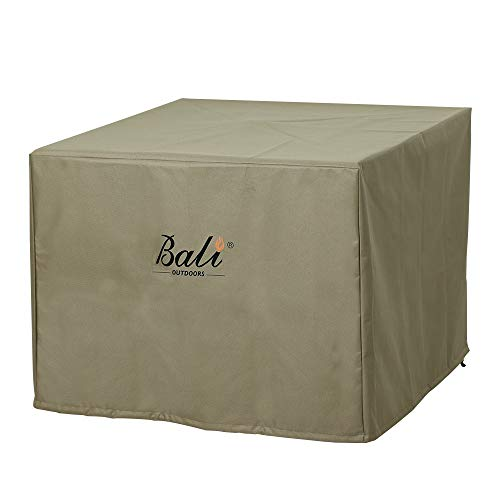 BALI OUTDOORS Square Durable Fire Pit Cover, 600D Heavy Duty with PVC Coating, Khaki, 28.3'' x...