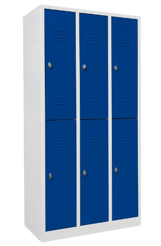Schließfachschrank Wertfachschrank Fächerschrank Spind Umkleideschrank 6 Fächer-Spint blau 520231 Maße:1800 x 885 x 500 mm (Höhe x Breite x Tiefe) kompl. montiert und verschweißt