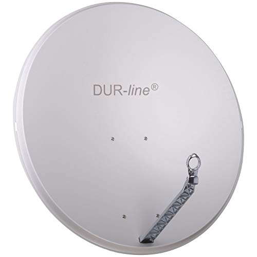 DUR-line Select 85cm x 90cm Alu Satelliten-Schüssel Hellgrau - [ Test SEHR GUT *] Aluminium Sat-Spiegel