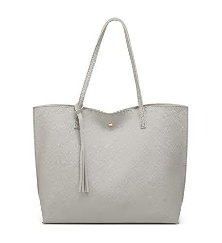Women's Soft Faux Leather Tote Shoulder Bag from Dreubea, Big Capacity Tassel Handbag Grey 2