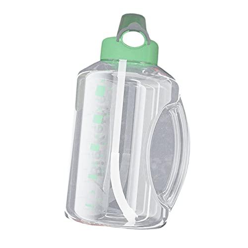 Perfeclan Bottiglia d'Acqua, 2,7 L Bottiglia d'Acqua con Paglia E Maneggiare La Bottiglia di Aspirazione Giornaliera Gratuita BPA con Tracker per Marcature Temp - Verde