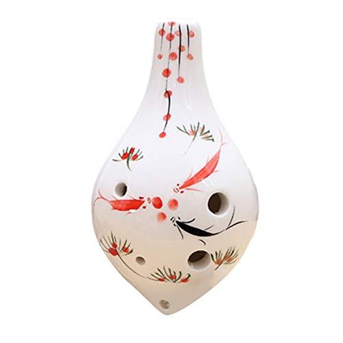 YUNGYE Ocarina 6 Agujeros del patrón de Flor de cerámica Clave de CA de Instrumentos Musicales for Principiantes THJ99 (Color : A)