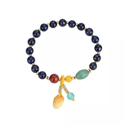 QiuYueShangMao Pulseras de Cuentas étnicas con Cuentas de Cristal de lapislázuli Natural Azul Oscuro para Mujer, joyería de Moda, joyería de la Amistad