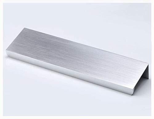 KFZ DJH8850 - Tirador invisible para armario o cajón, aleación de aluminio, 10 unidades (distancia entre orificios: 64 mm, longitud: 80 mm, plateado cepillado)