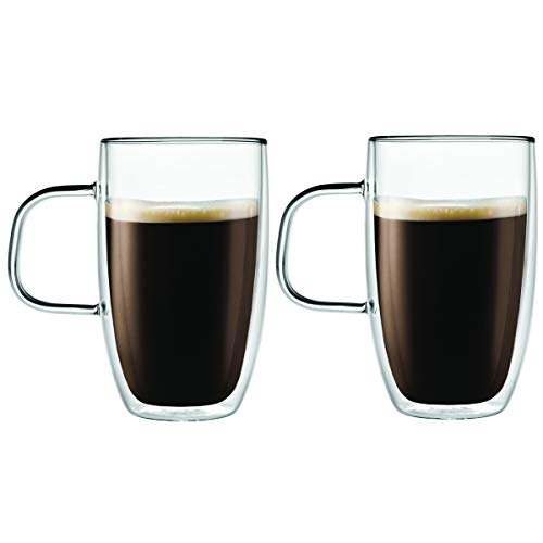 Double Wall Glass Coffee Cups Insulated Mugs for Drinking Espresso Latte Mocha Tea – 15 oz – Set of Two