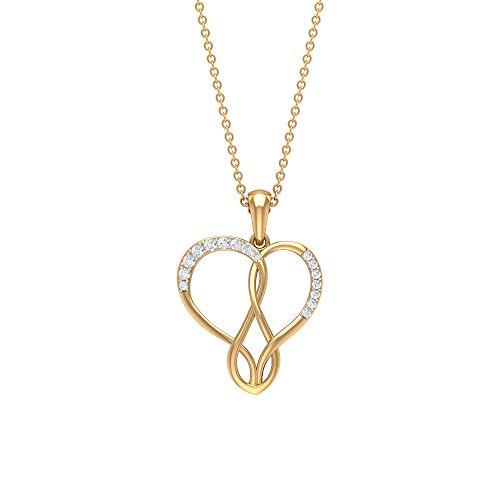 Collar con colgante de oro, colgante de corazón, collar de infinito de diamante HI-SI, colgante de aniversario amarillo
