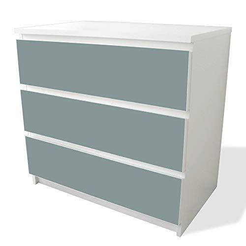 banjado Möbelfolie passend für IKEA Malm Kommode 3 Schubladen   Möbel-Sticker selbstklebend   Aufkleber Tattoo perfekt für Wohnzimmer und Kinderzimmer   Klebefolie Motiv Grau