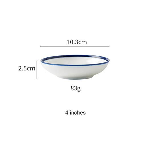 CJW Bol en céramique blanc à côté bleu - Petite assiette à soupe Assiette à soupe Assiette à soupe Coupe à salade de fruits Bol à dessert Bol 4-7.5 pouces (Taille : 10.3cm)