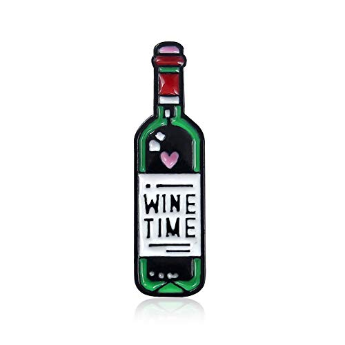 *Love Wine Bottle Wine Glass Enamel Drip Brooch Jewelry Accessories Wine Time Denim Jacket Badge(Size:2)