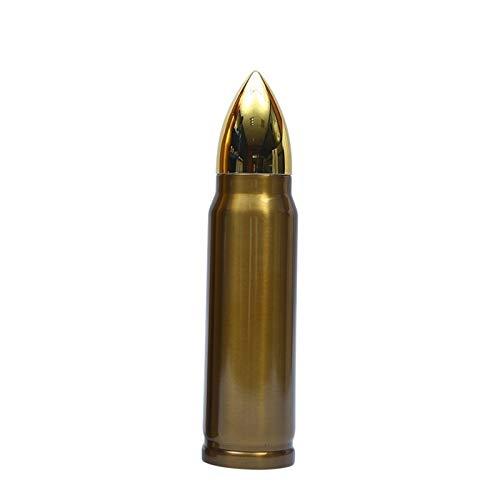 Story Creative Gold Bullet Forma Termos Thermos Botella de Agua Personalidad Acero Inoxidable Termos Botella Vacuum Frasco Deportes al Aire Libre Termos