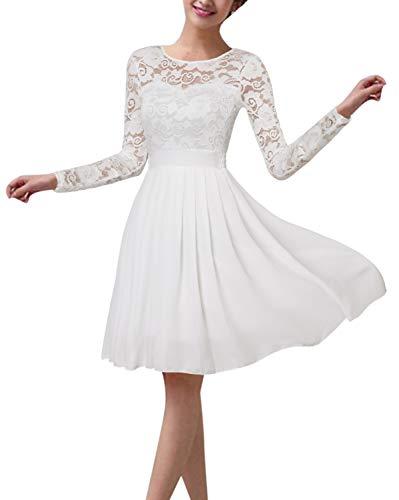 ZANZEA Vestido de Fiesta Encaje Manga Larga Mujer Tallas Grandes Elegant Vestido de Cóctel de Noche Cortos 02-Blanco L