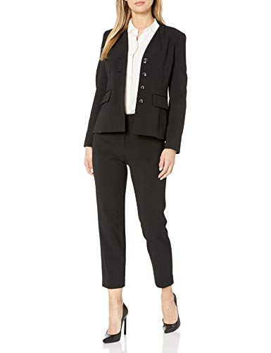 Tahari ASL Women's Petite Collarless 4 Button Jacket and Pant Suit, Black, 12P