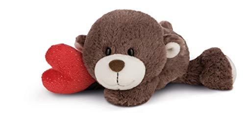 NICI 44435 Kuscheltier Love Bär Junge mit Herz 20cm liegend, beige, 20 cm