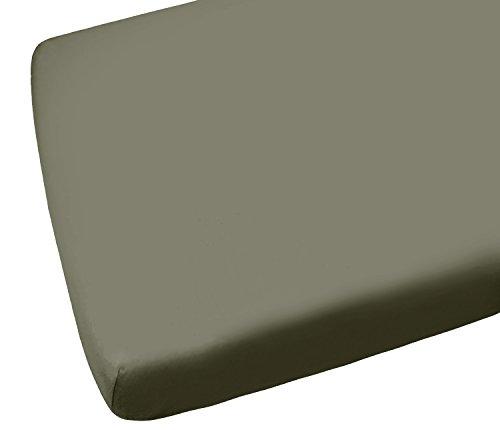 Linen Zone Sábana bajera ajustable de algodón egipcio de 400 hilos, color gris