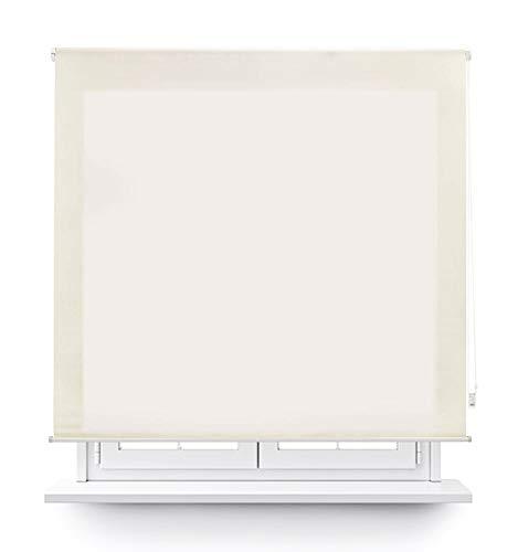MERCURY TEXTIL Estor Enrollable translúcido Liso (Beige, 135x180cm)