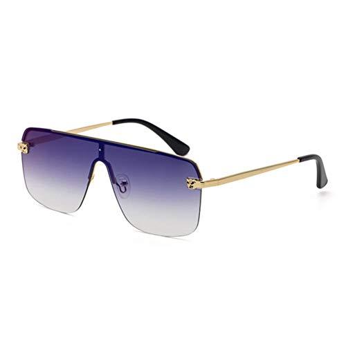 UKKD Gafas De Sol Mujeres Gafas De Sol De Lentes Integradas De Medio Marco De Moda para Hombres Y Gafas De Sol para Las Mujeres