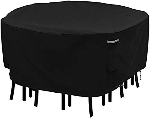 Konln Housse de table ronde pour table de terrasse - Imperméable - Anti-décoloration - Oxford 600D - Résistante aux UV - 177,8 cm de profondeur x 59,9 cm de hauteur - 1 lot - Noir