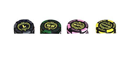 Lucky Birch Premium Poker Chips Heavyweight - Set for Texas Hold'em, Blackjack, Gambling - Premium 14-Gram Clay Composite Casino Style Chips - with Denomination (500 Poker Chips Set)