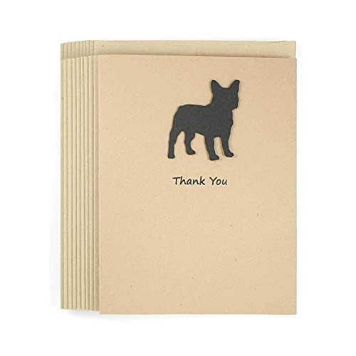 French Bulldog Thank You Cards 10 Pack   Handmade Frenchie Thank You Notecards   Black Dog   Kraft Brown with Matching Envelopes