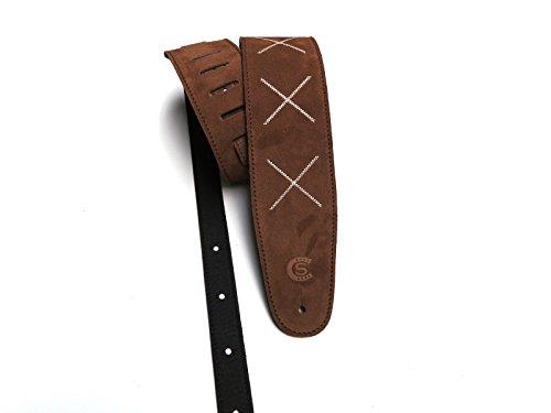 """Tracolla chitarra e basso in pelle scamosciata marrone cuoio con ricamo """"X"""" Custom Style T8SUBRX"""