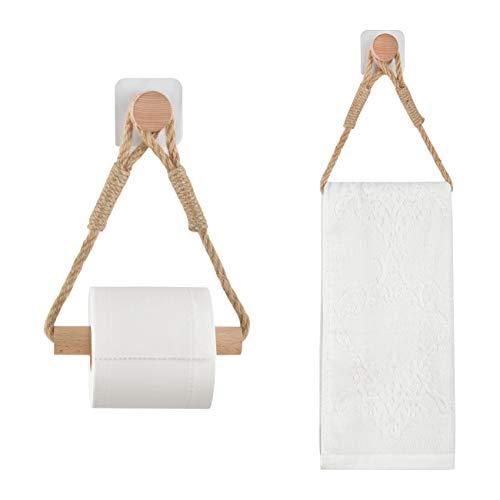 Toilettenpapierhalter ohne Bohren Klopapierrollenhalter Vintage Handtuchhalter WC Papier Halterung für WC Badezimmer Bad Vintage Dekoration Industrie Seil