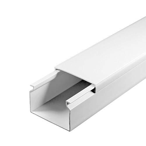 SCOS Smartcosat Kabelkanal (40 x 25 x 2000 mm (5 Stück a 2 m) B x H x L, Weiß/Weiss/Reinweiß) schraubbar PVC Kunststoff, Aufputz für Wand Montage allzweck Kabelleiste, Kabelschacht