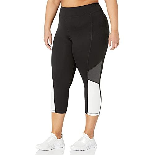 Manygood Tallas grandes de las mujeres de cintura alta recortada 3/4 de longitud pantalones pantalones de algodón Capri Leggings