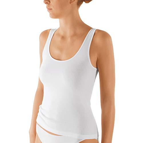Nina von C. 3er Pack Damen Achselhemden I Daily I Unterhemden in Weiß aus 100% Baumwolle I Damen Top mit Feinsatin I Gr. 40