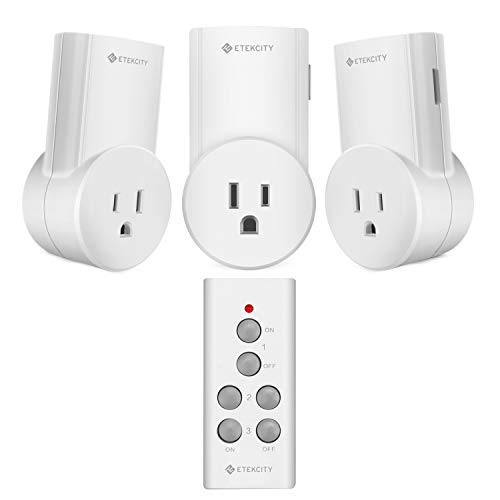 Etekcity Remote Control Outlet Wireless Light Switch for Household Appliances, Plug and Go, Up to 100 ft. Range, FCC ETL Listed, White (Learning Code, 3Rx-1Tx)