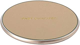 Wireless Charger, Alphex 10W Gold Premium Leather Qi Standard Fast Charging Pad, Compatible with iPhone Xs/XR/X/8, Sumsung Galaxy S10/S9/S8/S7,No AC Adapter