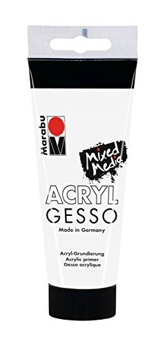 Marabu 12040050808 - Acryl Gesso weiß 100 ml, feine, hochdeckende Acryl - Grundierung auf Wasserbasis, schwach saugend, für glatten Farbauftrag und gute Haftung von Farben und Medien