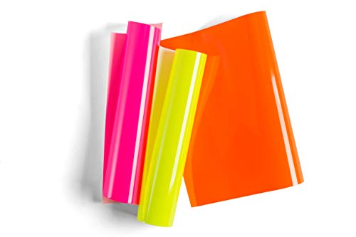 """Cricut Everyday Iron On - 12"""" x 12"""" 3 Sheets - Includes Neon Pink, Yellow & Orange - HTV Vinyl for T-Shirts - Use with Cricut Explore Air 2/Maker - Glowsticks Sampler"""