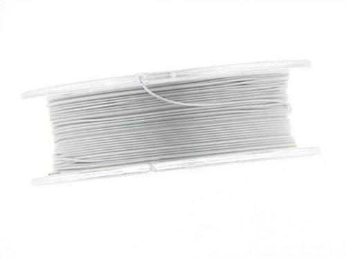 Creative-Beads Edelstahldraht, Stahlseil, 0,4mm, Schmuckdraht für Kette, Armband, nylon ummantelt hautverträglich reißfest, 10m Rolle pearl silver zum Schmuck selbst machen