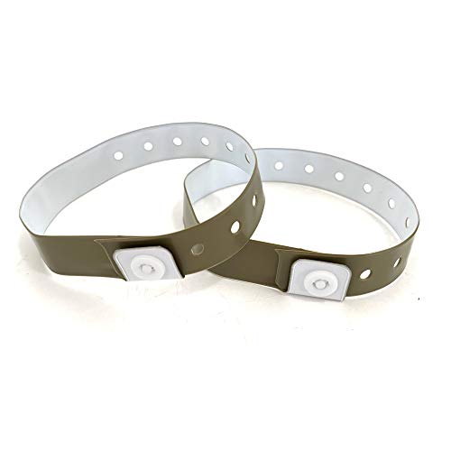 Set de 100 pulseras de plástico/vinilo para eventos, personalizables e impermeables (dorado)