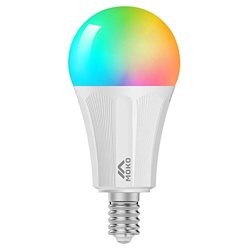 MoKo Lampadina LED E14 Colorate RGB, Intelligente Lampadine Controllo Remoto WiFi, 9W Luce Calda Dimmerabile, Lavora con SmartThings, Alexa Echo, Google Home per Controllo App Smart Life No Hub-Bianco