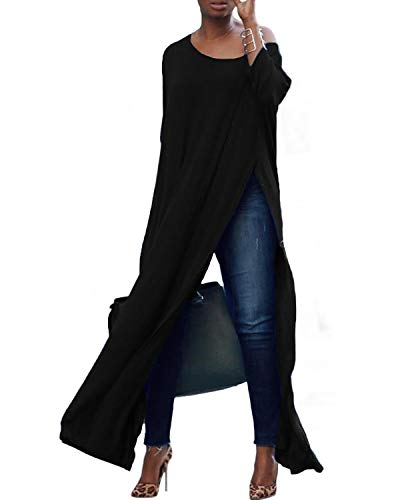 kenoce Damen Beiläufige Lose Lange Maxi Tops Scoop Neck Side Split Shirt Kleid Baggy Tunika Blusen 3/4 Ärmel Pullover Schwarz M