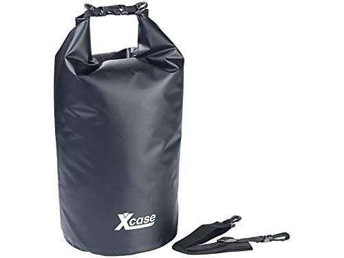 Xcase Packsäcke aus LKW-Plane: Wasserdichter Packsack, strapazierfähige Industrie-Plane, 20l, schwarz (Trockenbeutel)