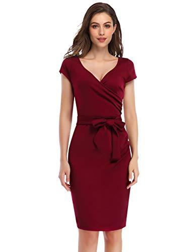 KOJOOIN Damen Elegant Etuikleid Festliche Abendkleider Cocktailkleid Knielang Business Kleider Weinrot (Kurzarm)【EU 42-44】/L