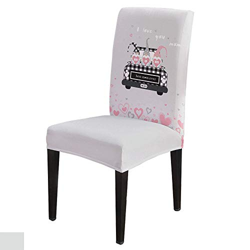 6 PCS Stretchy Dining Chair Slipcovers for Home Ceremony Banquet, Wedding, Removable Anti-Dirty Furniture Protector for Kids Pets, Mother's Day Love Shape Truck with Dwarf-Best Mama Ever on Grey