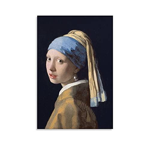 WANGXIAO Johannes Vermeer - Póster decorativo para pared, diseño de chica con una perla, 30 x 45 cm