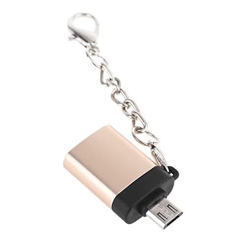 DALIN Adaptador de metal micro USB a USB 3.0 hembra OTG con cadena para teléfonos inteligentes y tabletas