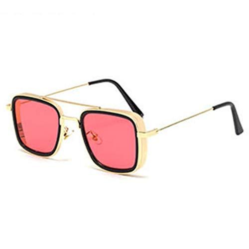 JXZPL Gafas de Sol Retro Retro Lado Grueso Metal Square Tendencia Gafas de Moda Gafas de Sol (Lenses Color : Gold Red)