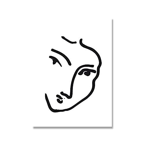 Exposición de Matisse, arte de pared de hoja curva de chica abstracta, póster nórdico e imagen de pared impresa, lienzo sin marco, pintura A4 30x45cm