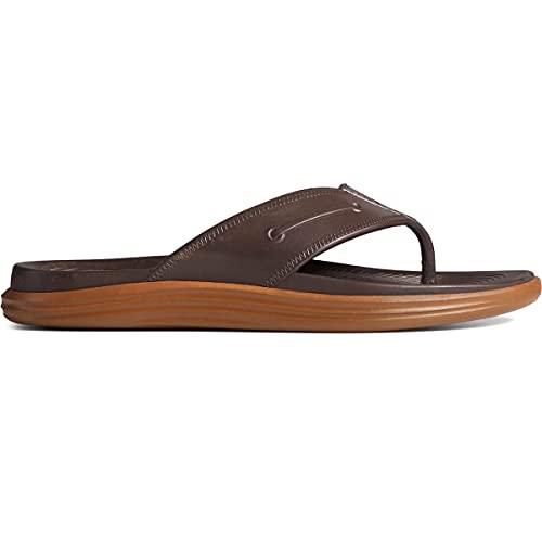 Sperry Men's Windward Float Thong Flip-Flop, Brown/Gum, 8