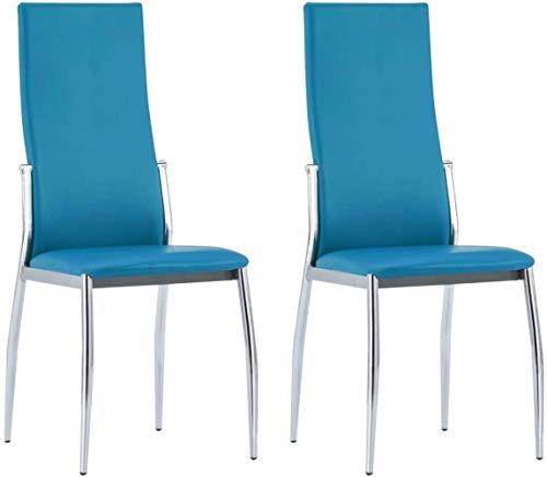 Essplatzstühle Polster 2 Stück Aluminium-Kunstleder Blau