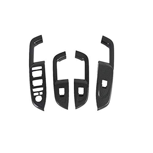 SHOUNAO 4 Unids De Fibra De Carbono Interior De La Puerta Del Apoyabrazos De La Ventana De La Ventana Del Interruptor Del Interruptor Del Interruptor De La Cubierta Ajuste Para El Lugar De Hyundai 201